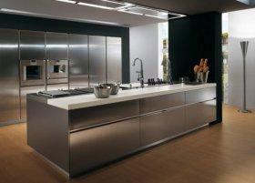 Использование мебели из нержавеющей стали в интерьере кухни